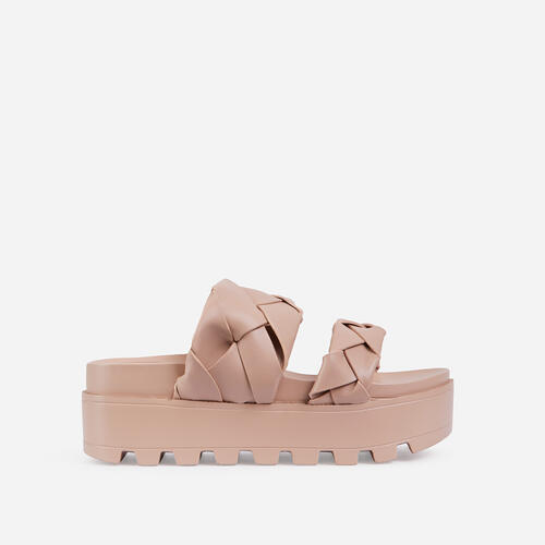 Sunrise Woven Chunky Sole Platform Flat Slider Sandal In Nude Faux Leather