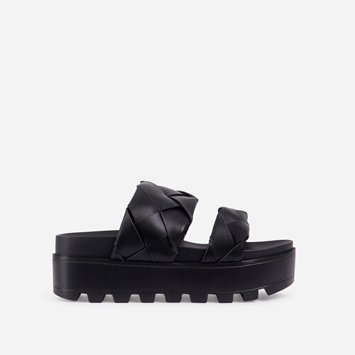 Sunrise Woven Chunky Sole Platform Flat Slider Sandal In Black Faux Leather