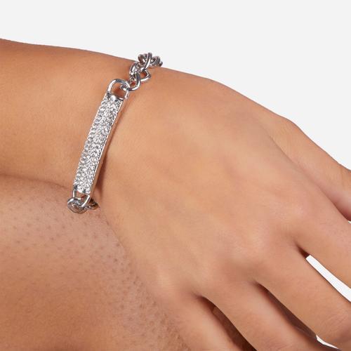 Diamante Bar Detail Bracelet In Silver