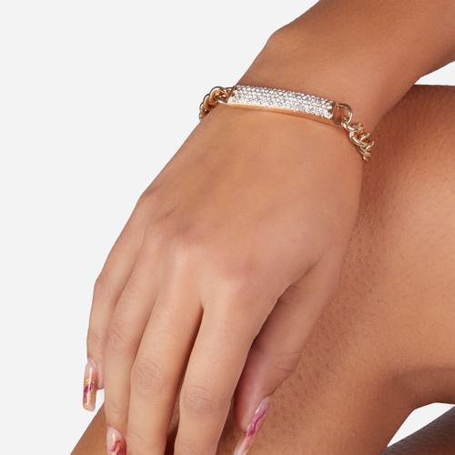 Diamante Bar Detail Bracelet In Gold