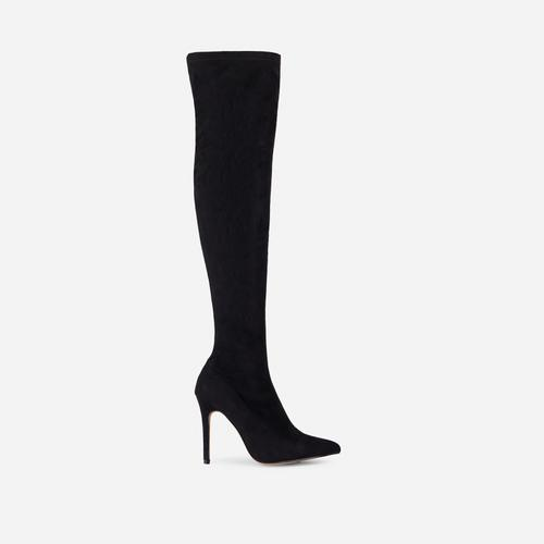 Alabama Pointed Toe Over The Knee Thigh High Long Sock Boot In Black Faux Suede