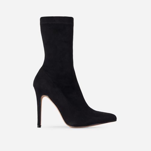 Fiona Pointed Toe Ankle Boot In Black Faux Suede
