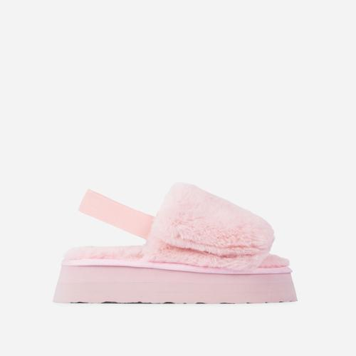 Belle Fluffy Platform Slipper In Pink Faux Fur