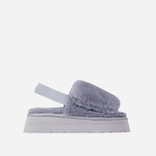 Belle Fluffy Platform Slipper In Grey Faux Fur