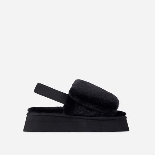 Belle Fluffy Platform Slipper In Black Faux Fur