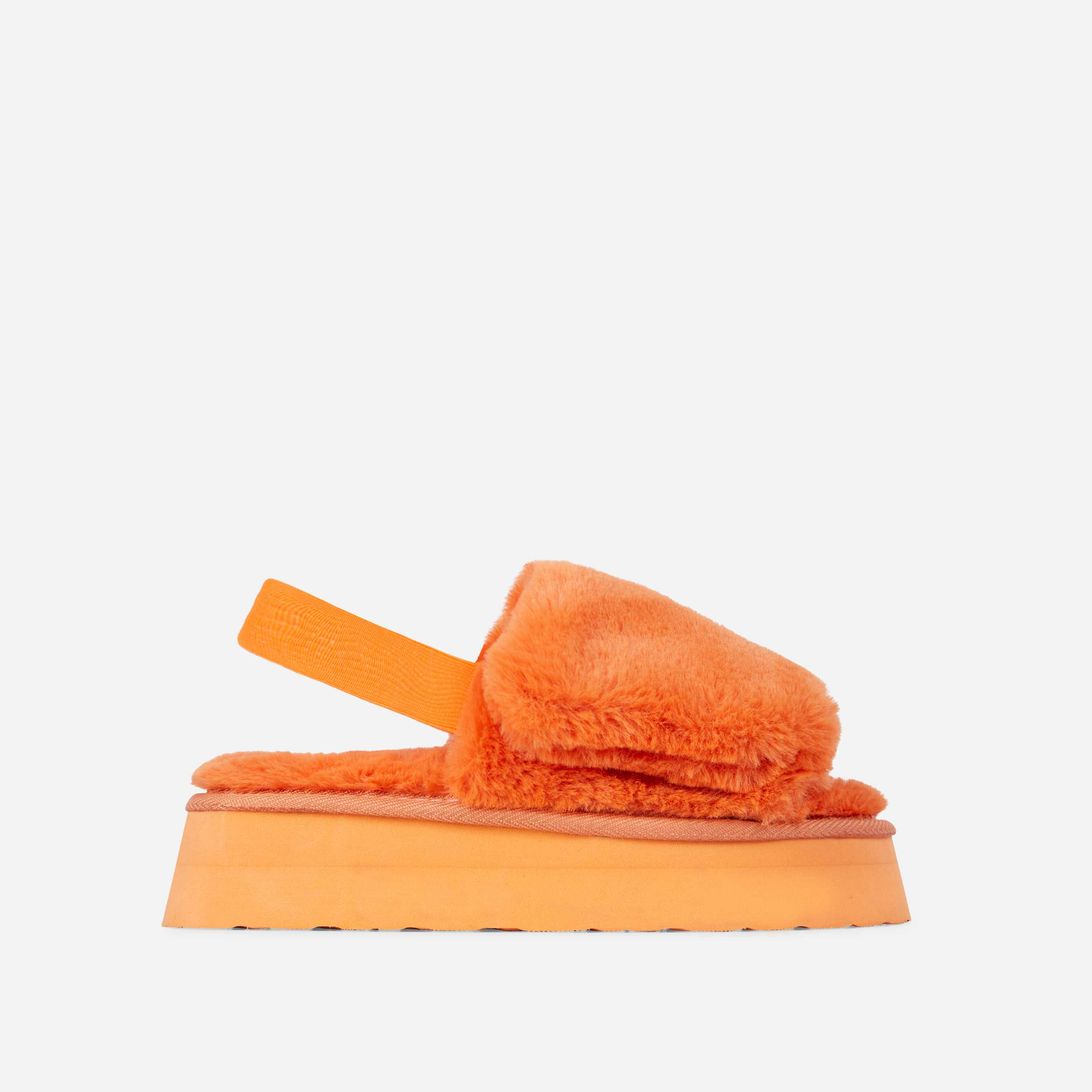 Belle Fluffy Platform Slipper In Orange Faux Fur