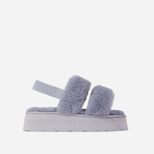 Tata Fluffy Stripe Platform Slipper In Grey Faux Fur