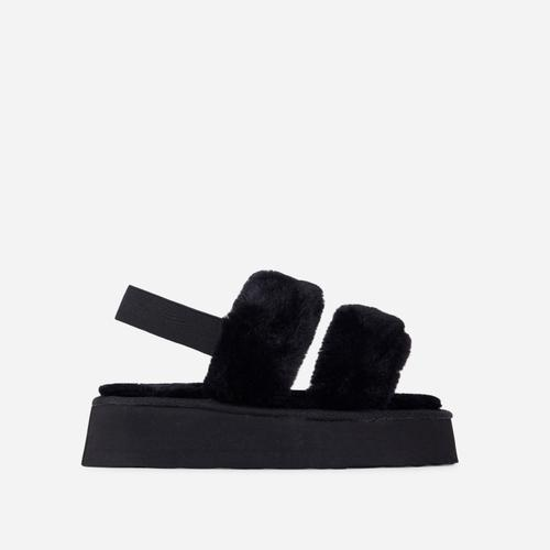 Tata Fluffy Stripe Platform Slipper In Black Faux Fur