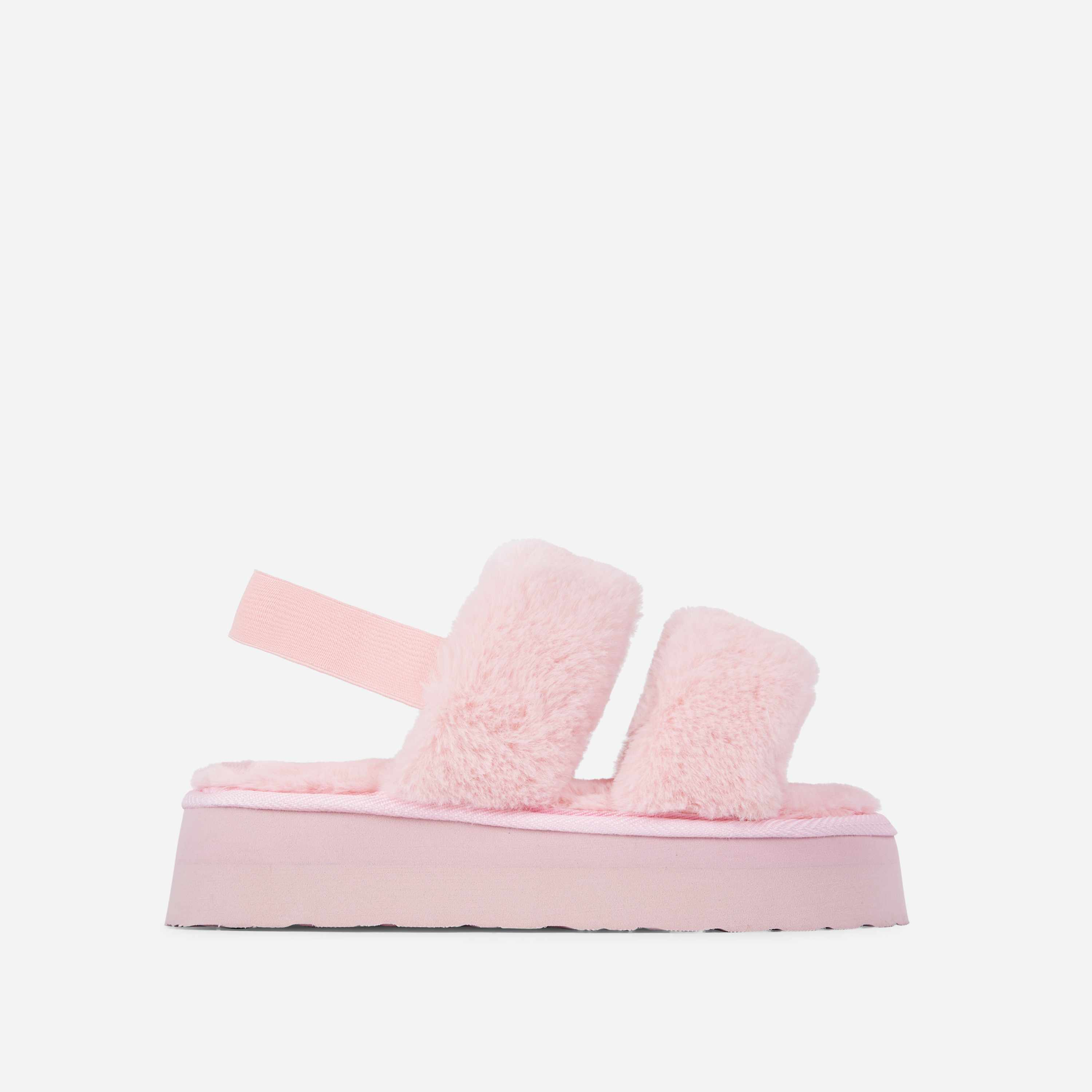 Tata Fluffy Stripe Platform Slipper In Pink Faux Fur