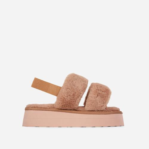 Tata Fluffy Stripe Platform Slipper In Nude Faux Fur