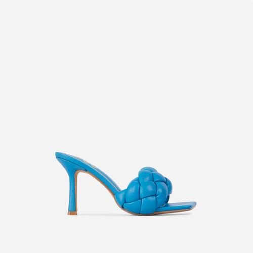 Waves Square Peep Toe Woven Kitten Heel Mule In Blue Faux Leather