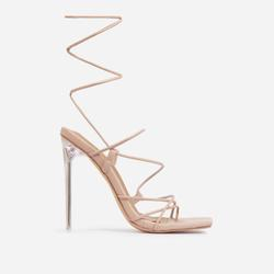 Sunbathe Square Toe Lace Up Clear Perspex Heel In Nude Faux Leather