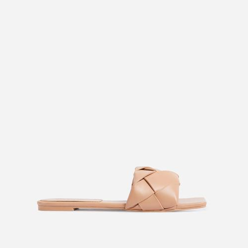 New Rules Woven Square Toe Flat Slider Sandal In Nude Faux Leather