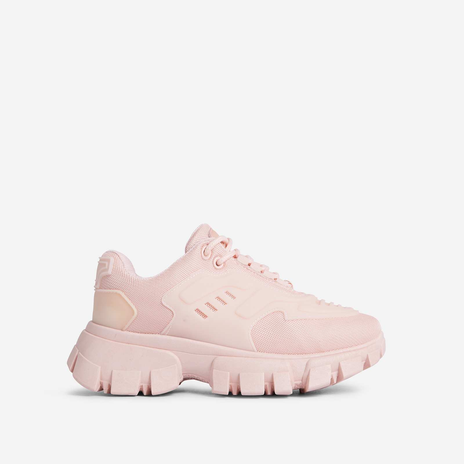Stormi Caged Lace Up Chunky Sole Trainer In Pink