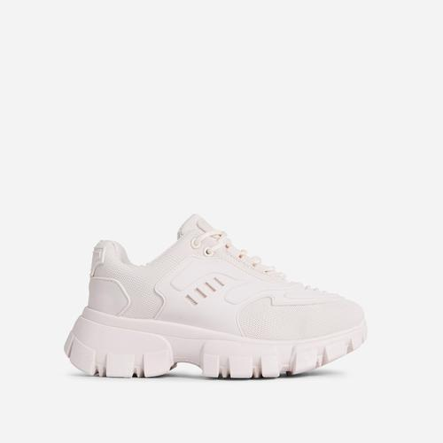 Stormi Caged Lace Up Chunky Sole Trainer In Nude
