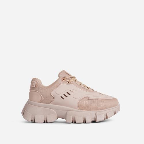 Stormi Caged Lace Up Chunky Sole Trainer In Khaki Brown