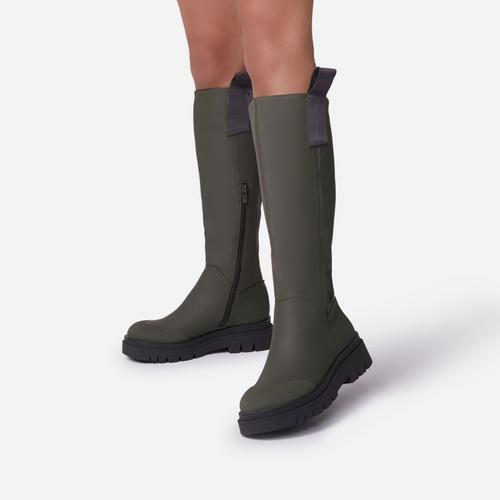 Serena Chunky Sole Knee High Long Wellington Boot In Khaki Green