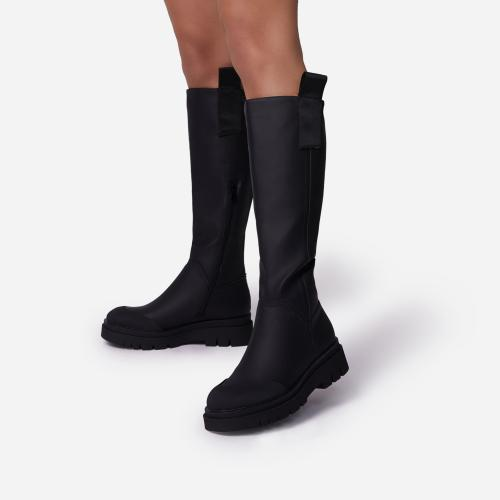 Serena Chunky Sole Knee High Long Wellington Boot In Black