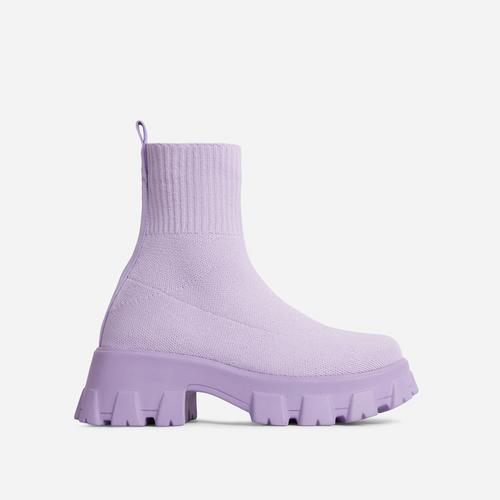 Don't-Trust Chunky Sole Ankle Chelsea Sock Biker Boot In Lilac Knit