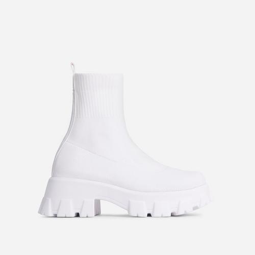 Don't-Trust Chunky Sole Ankle Chelsea Sock Biker Boot In White Knit