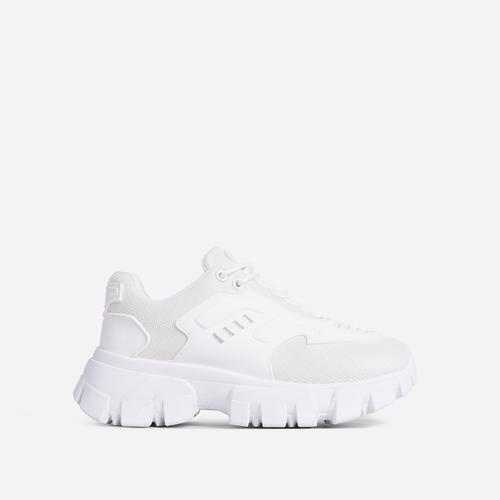 Stormi Caged Lace Up Chunky Sole Trainer In White