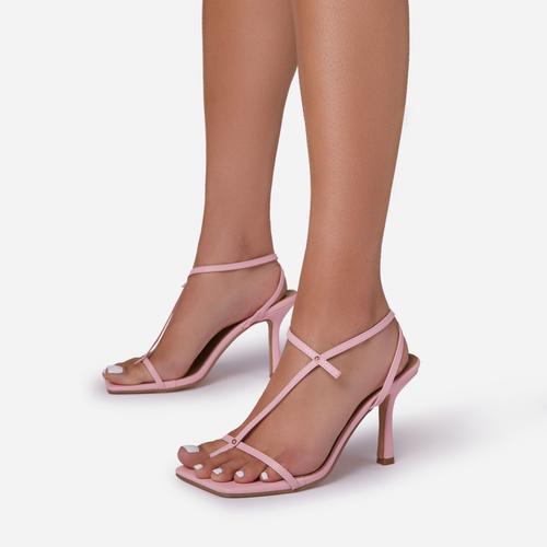 Long-Shot Cross Strap Detail Square Toe Kitten Heel In Pink Faux Leather