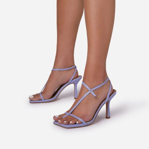 Long-Shot Cross Strap Detail Square Toe Kitten Heel In Lilac Faux Leather