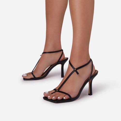 Long-Shot Cross Strap Detail Square Toe Kitten Heel In Black Faux Leather