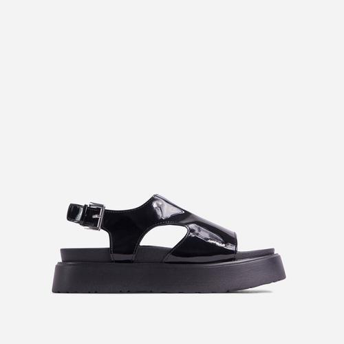 Cambrie Cut Out Buckle Detail Chunky Sole Flatform Sandal In Black Patent