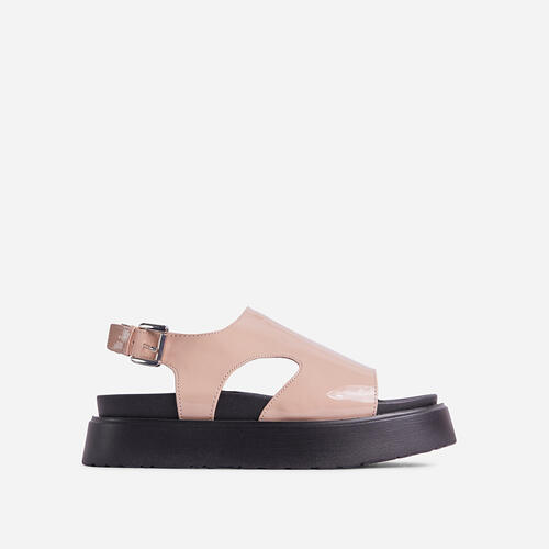 Cambrie Cut Out Buckle Detail Chunky Sole Flatform Sandal In Nude Patent