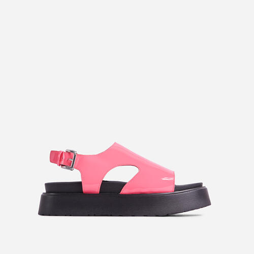 Cambrie Cut Out Buckle Detail Chunky Sole Flatform Sandal In Pink Patent