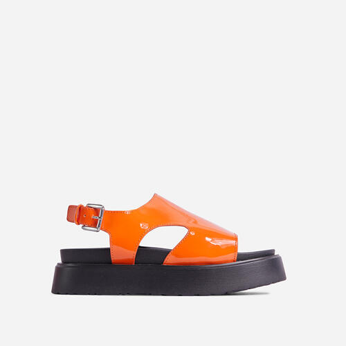 Cambrie Cut Out Buckle Detail Chunky Sole Flatform Sandal In Orange Patent