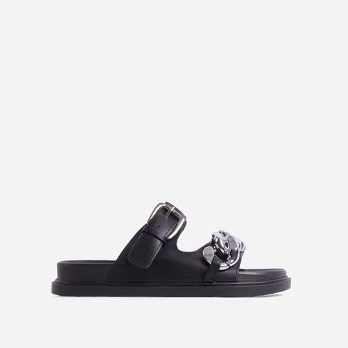 Born-To-Run Chain Detail Double Strap Chunky Sole Flat Slider Sandal In Black Faux Leather