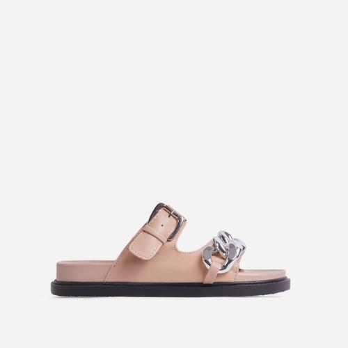 Born-To-Run Chain Detail Double Strap Chunky Sole Flat Slider Sandal In Nude Faux Leather