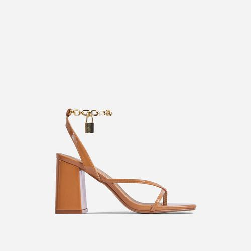 Boca Chain Padlock Detail Square Toe Block Heel In Dark Nude Faux Leather