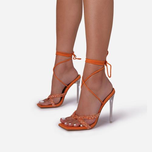 Bel-Air Diamante Detail Lace Up Square Toe Clear Perspex Heel In Orange Faux Suede