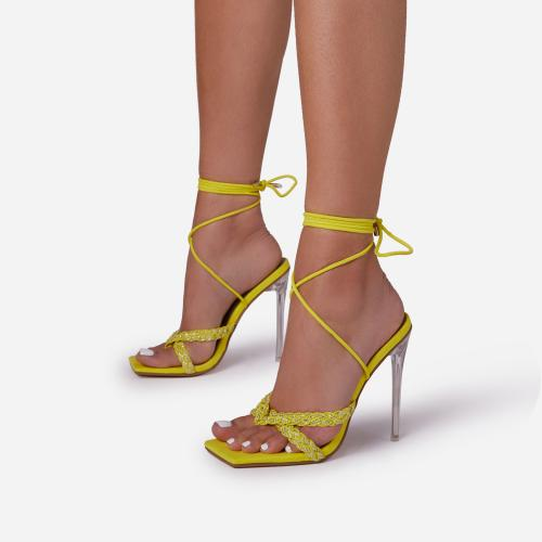 Bel-Air Diamante Detail Lace Up Square Toe Clear Perspex Heel In Yellow Faux Suede