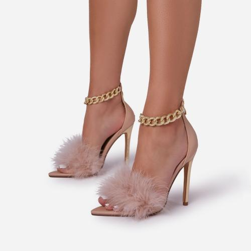 After-Party Fluffy Faux Feather Chain Detail Pointed Toe Metallic Heel In Nude Faux Leather