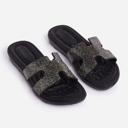 Prince Diamante Detail Flat Slider Sandal In Black Faux Leather