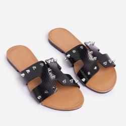 Fury Studded Detail Flat Slider Sandal In Black Snake Print Faux Leather