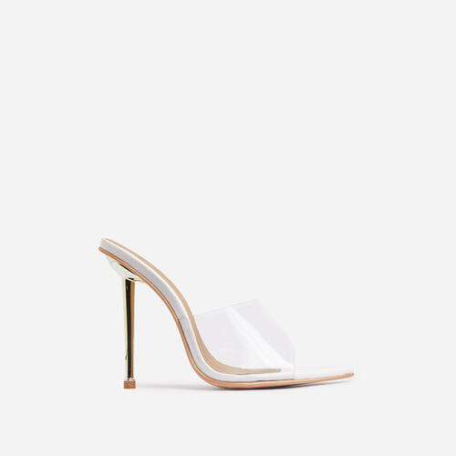 KingKing Clear Perspex Pointed Peep Toe Heel Mule In White Patent