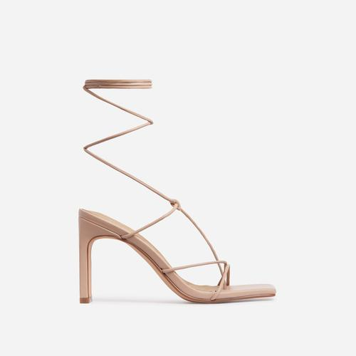 Sweet Dream Square Toe Lace Up Thin Block Heel In Nude Faux Leather