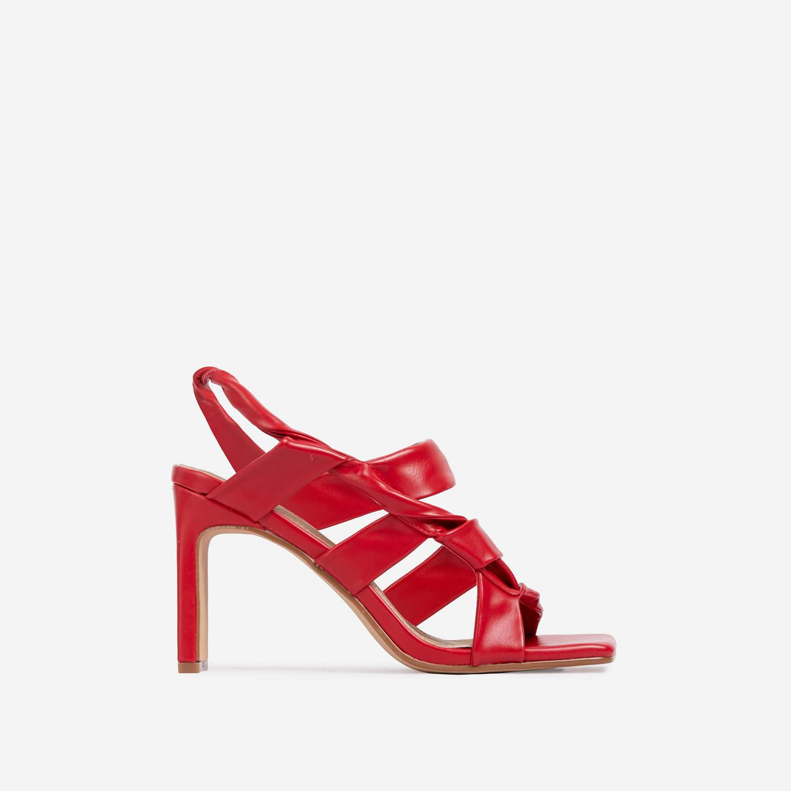 Ripple Strappy Caged Square Toe Heel Mule In Red Faux Leather