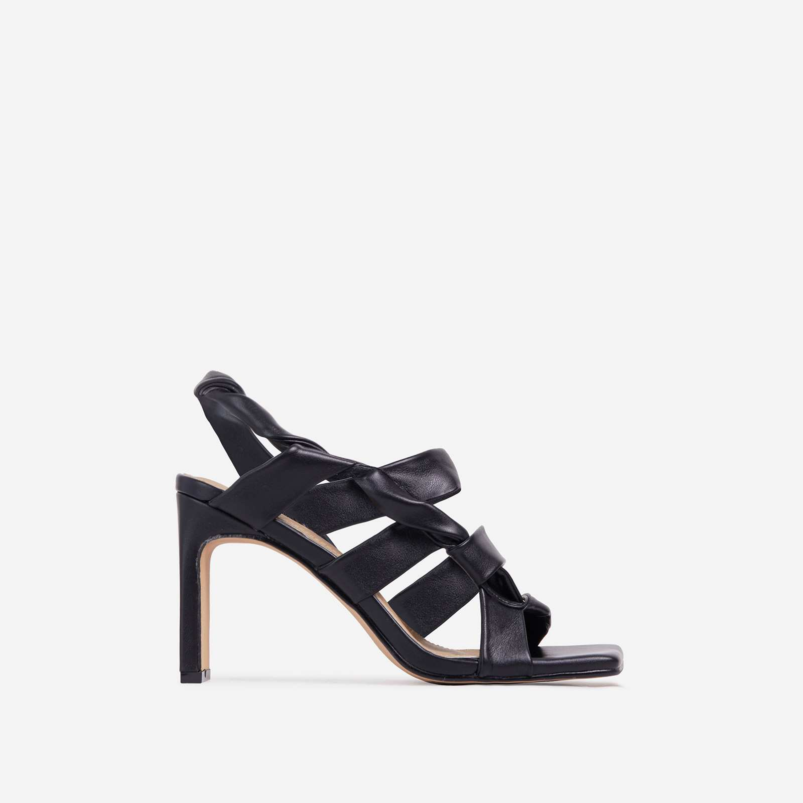Ripple Strappy Caged Square Toe Heel Mule In Black Faux Leather