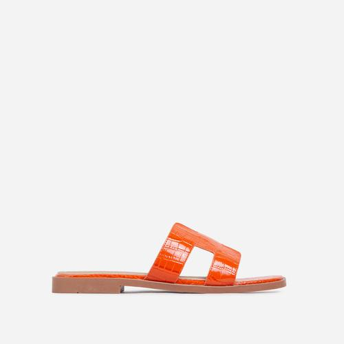 Addison Caged Flat Slider Sandal In Orange Croc Print Patent