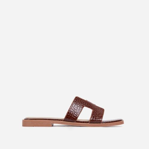 Addison Caged Flat Slider Sandal In Brown Croc Print Patent