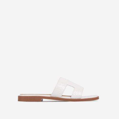 Addison Caged Flat Slider Sandal In White Croc Print Patent