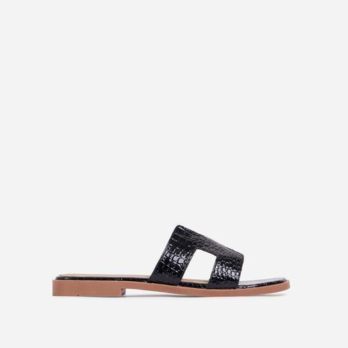 Addison Caged Flat Slider Sandal In Black Croc Print Patent