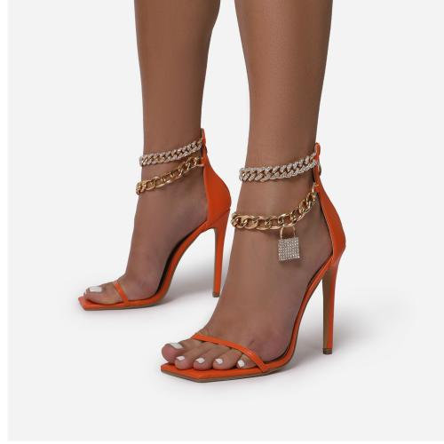 Entitled Diamante Double Chain Padlock Detail Square Toe Heel In Orange Faux Leather