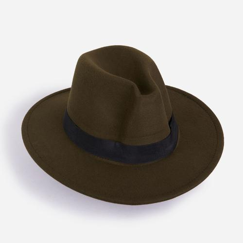 Felt Fedora Hat In Khaki Green